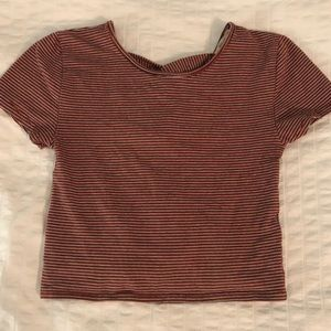 Red Stripped Crop Top